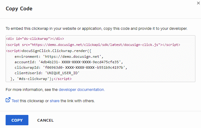 Copy the code to insert into your application.