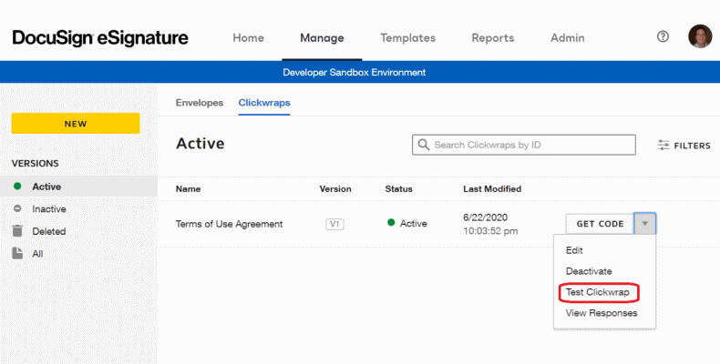 Selecting the Clickwrap Tester in the DocuSign Manage UI