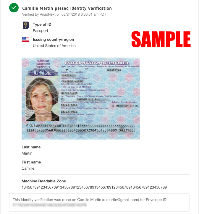 Sample photo ID scanned by ID Verification