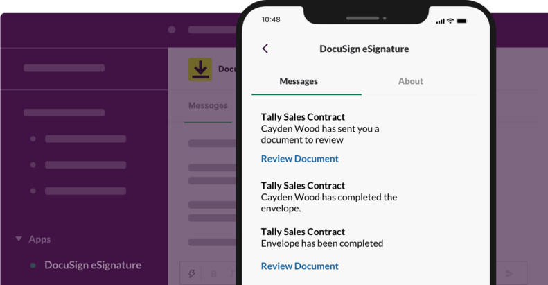 DocuSign eSignature and Slack