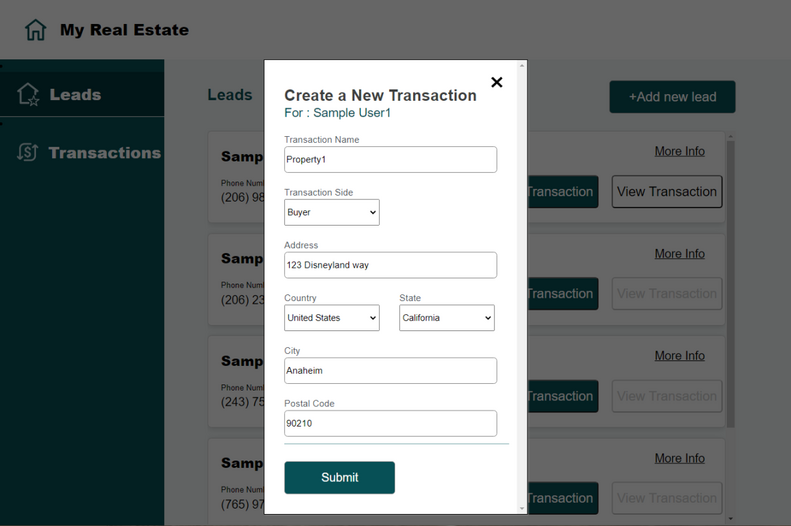 MyRealEstate sample app: Create a new transaction