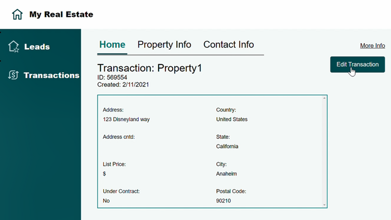 MyRealEstate sample app: View a transaction