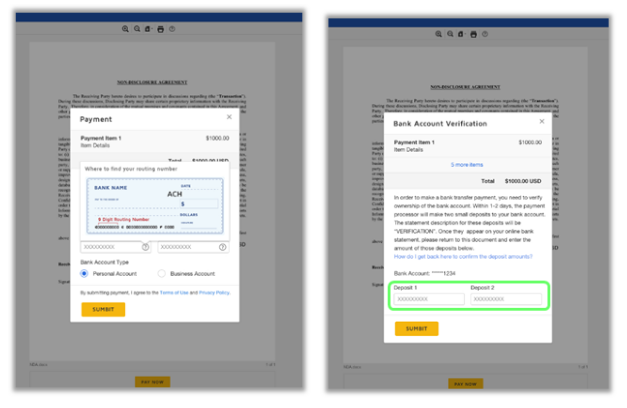 ACH payment and bank account authorization forms in DocuSign