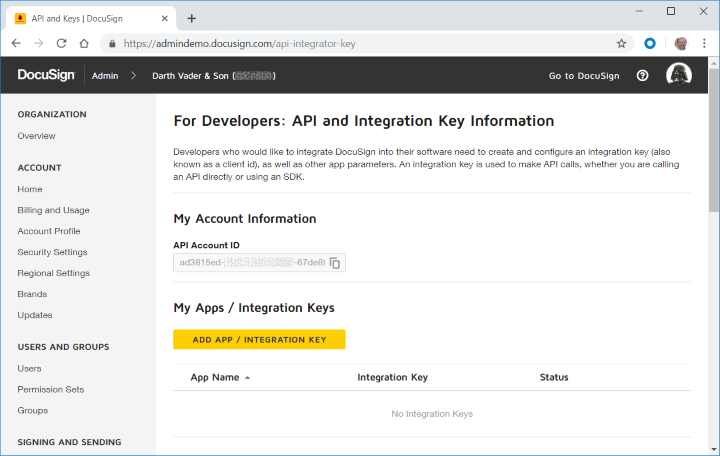 New API and Keys page, before creating an integration key