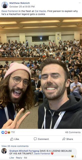 Dave Fontenot with Matthew Roknich at CalHacks