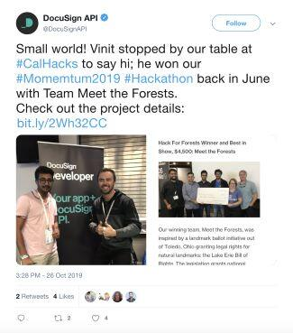 Featured tweet: a visit from Vinit, a winner at the Momentum 2019 hackathon.