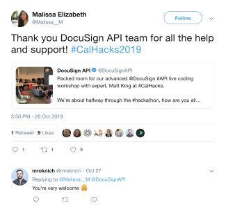 Featured tweet: appreciation from a hackathon attendee