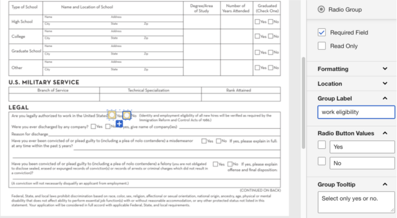 Adding Radio Buttons to DocuSign forms