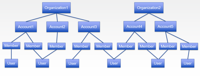 Organization, accounts, members and users