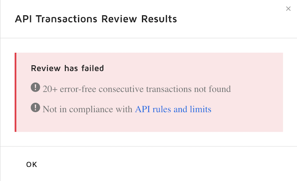 Electronic signature API transactions review failed