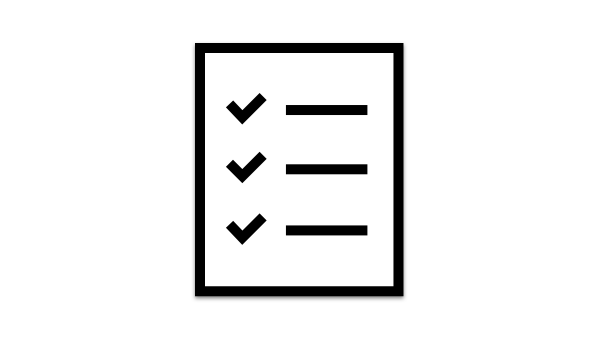 An icon showing a piece of paper with a to do list.