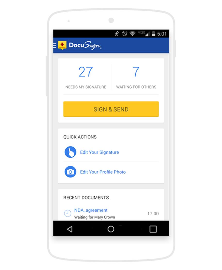 The DocuSign eSignature home screen on an Android device, which says 27 documents need the users signature, and 7 are waiting on others.