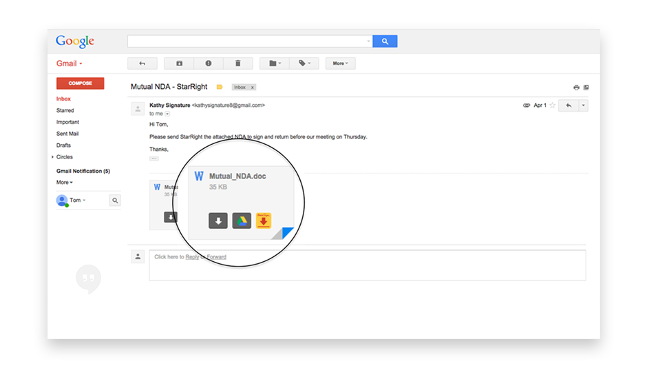 A file attachment on an email in the Gmail interface showing the DocuSign logo.