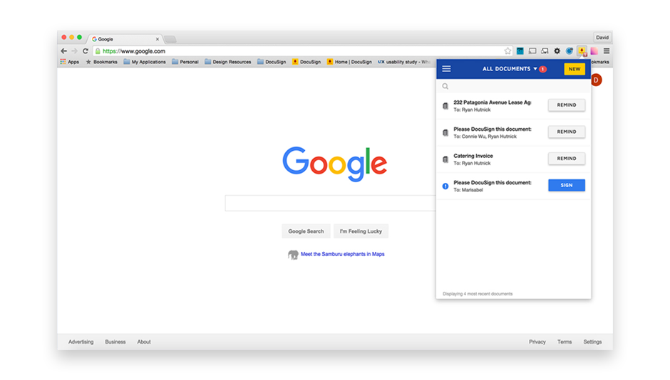 A Google Chrome window showing an icon in the toolbar for DocuSign with statuses on various documents out for signature.