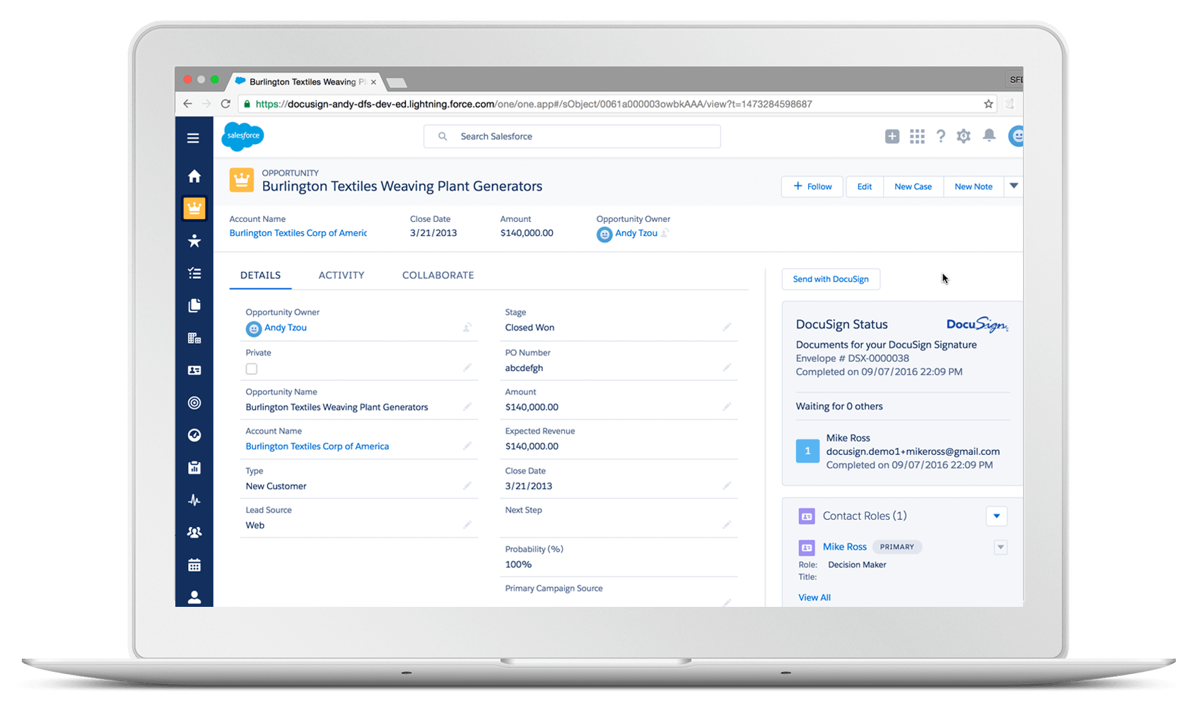 DocuSign for Salesforce Lightning product screenshot