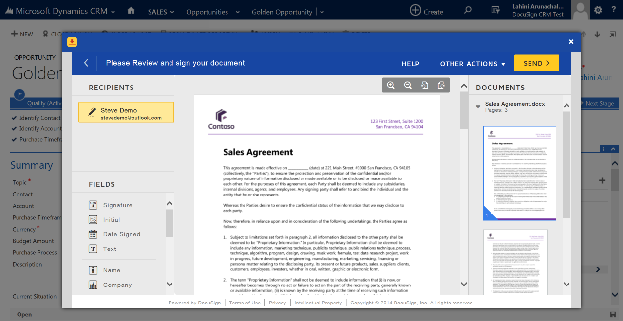 DocuSign for Dynamics CRM Online | DocuSign