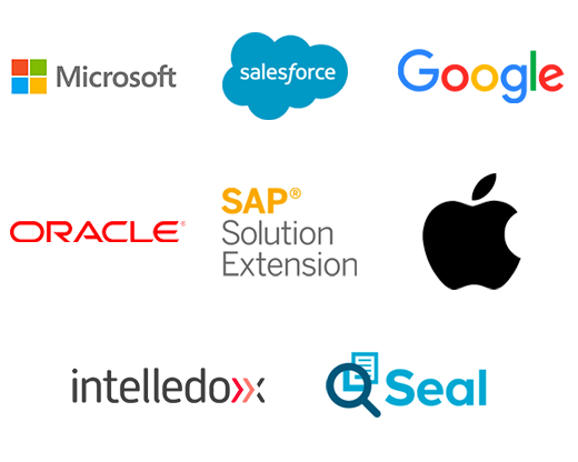 Logos for Microsoft, Salesforce, Google, Oracle, SAP Solution Extension, Apple, Intelledox and Seal Software.