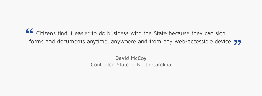 David McCoy, Controller, State of North Carolina quote