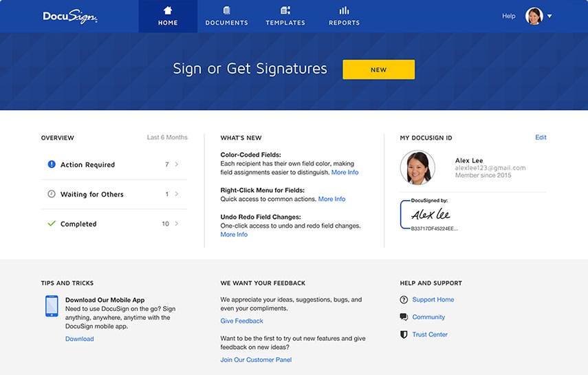 Electronic signatures are easy with DocuSign's intuitive user interface