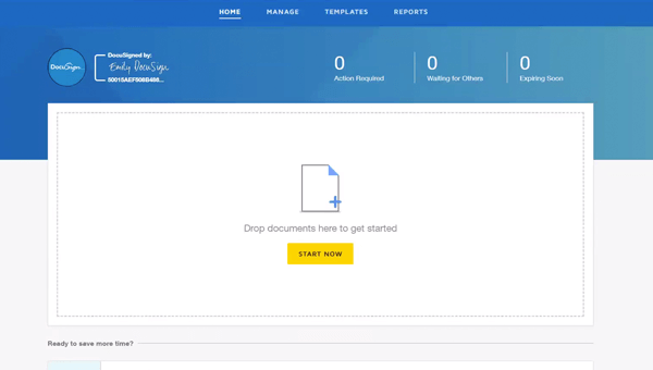 "DocuSign eSignature interface showing ""Drop your documents here"""