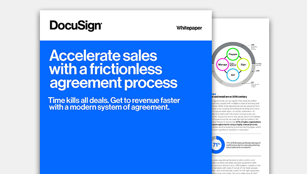 Read the white paper about accelerating sales with a frictionless agreement process