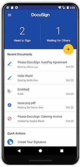 The DocuSign eSignature home screen on an Android device