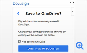 Screenshot of saving DocuSign documents to OneDrive