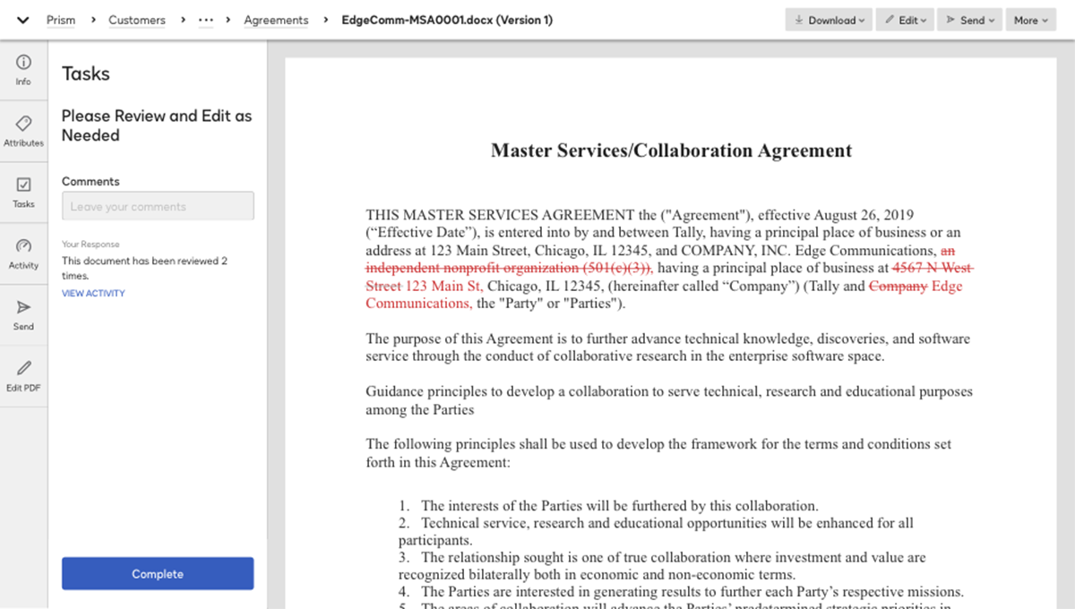 Screenshot of reviewing a contract in the system