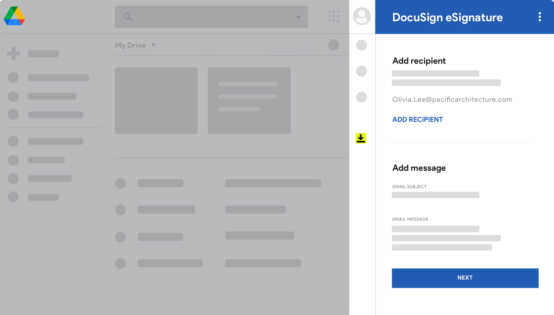 Google Drive screen with DocuSign eSignature.