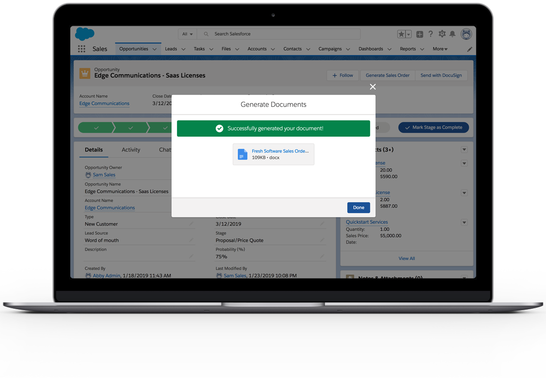 """A popup over the salesforce interface that say """"Successfully generated your document!"""""""