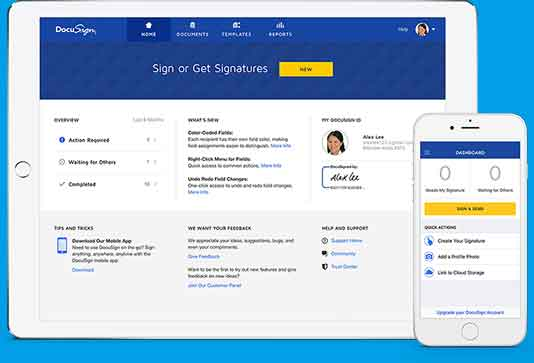DocuSign desktop and mobile product