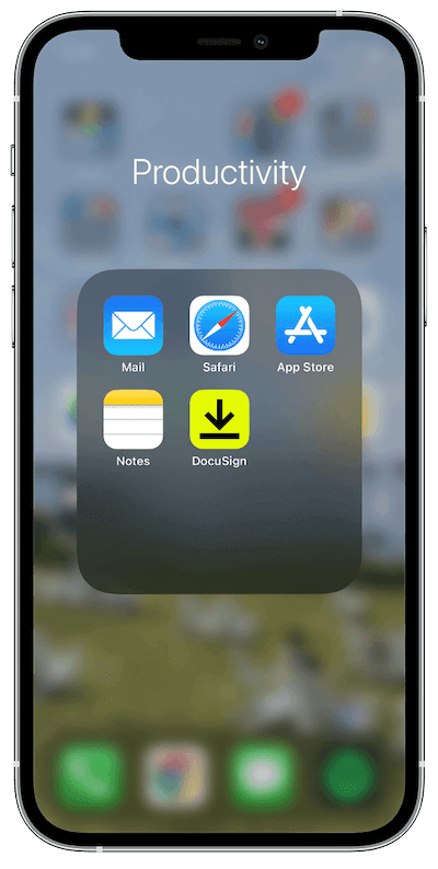 DocuSign app on iPhone