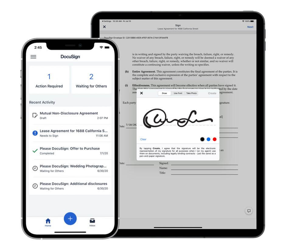 DocuSign app on both mobile and tablet made for professionals