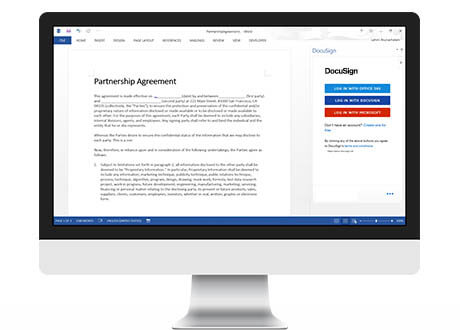 A desktop screen displaying DocuSign for Word