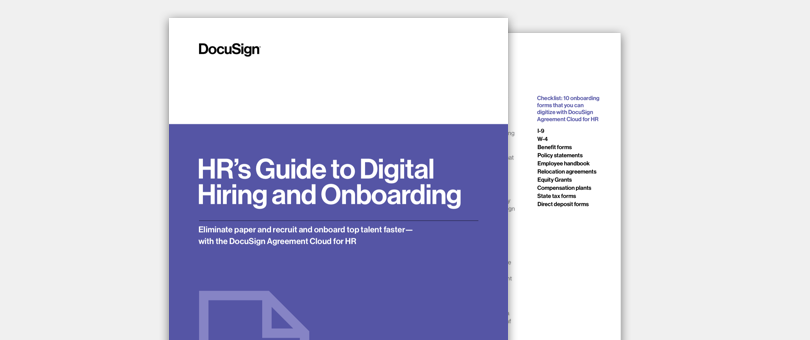 Image of DocuSign's HR Guide to Digital Hiring and Onboarding.