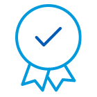 Badge icon with a checkmark in the middle.