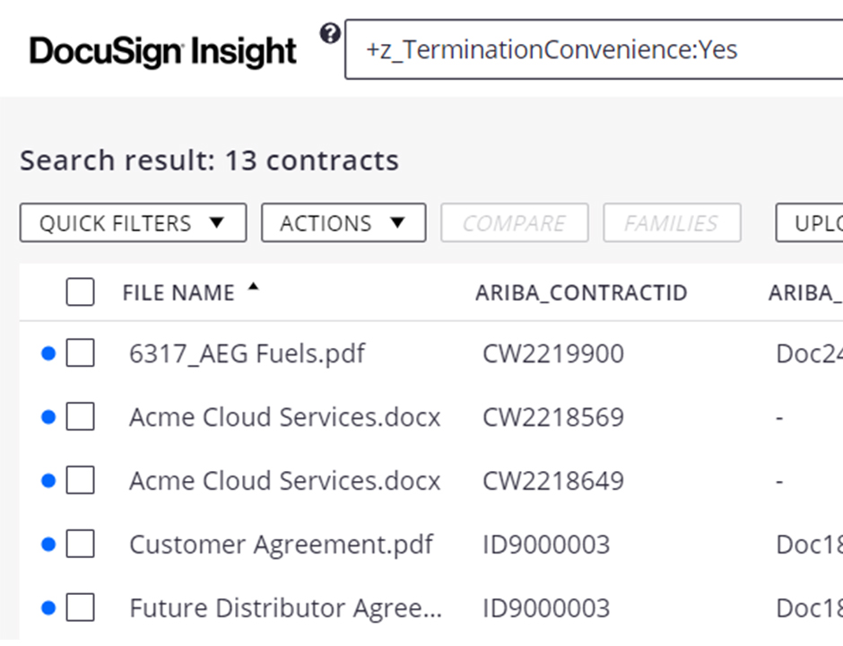 DocuSign Insight Connector for SAP Ariba screenshot showing search and column headers.
