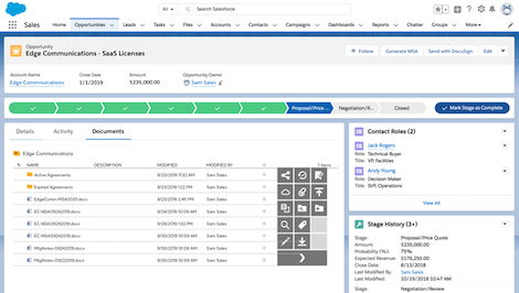 Screenshot of Salesforce integration in the system