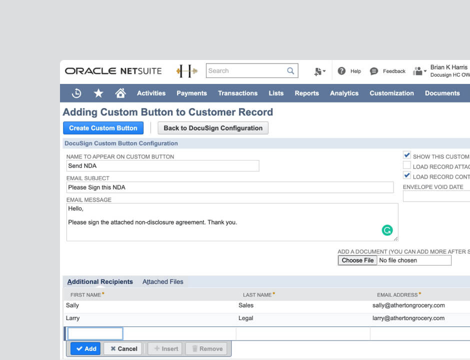 A product screenshot of Adding a Custom Button to Customer Record UI.