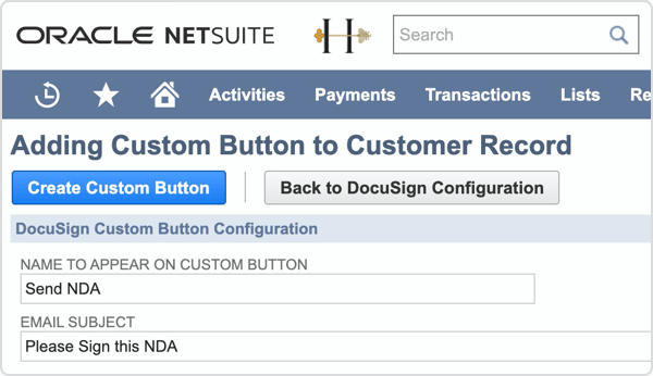 A close up product screenshot of the custom button configuration.