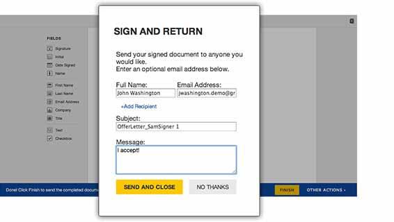 Step 3, send signed agreement