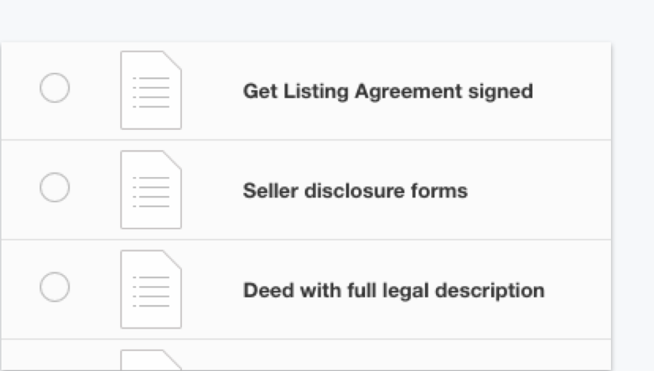 Lists track documents to ensure a swift closing with DocuSign Rooms for Real Estate.
