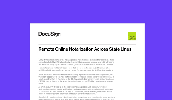 This article gives insights into remote online notarization involving multiple states.