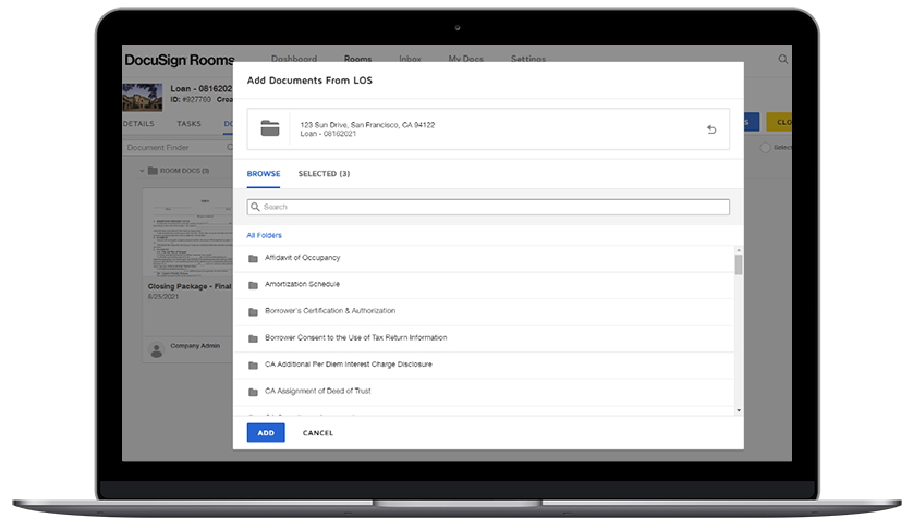 DocuSign Rooms for Mortgage screenshot showing how to add documents.