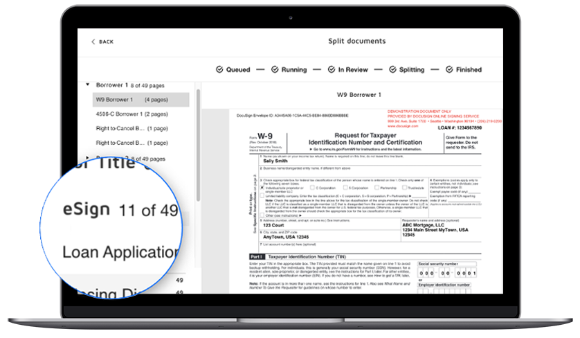 DocuSign Rooms for Mortgage screenshot showing a split screen document view.