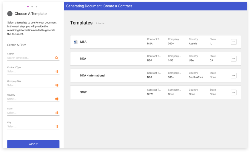 A screen capture of the template generation capabilities in the SpringCM user interface.