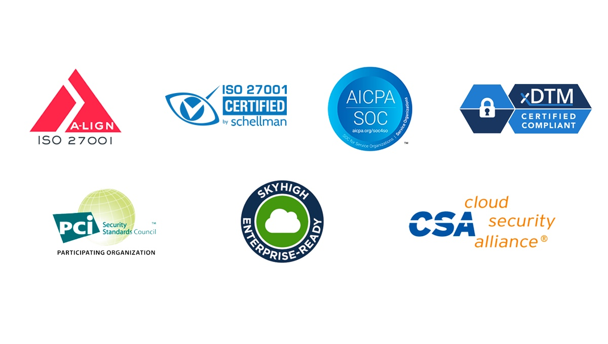 Logos of security certifications.