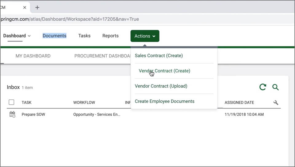 "A screenshot of a user hovering over a ""Vendor Contracts"" menu item in the SpringCM interface."