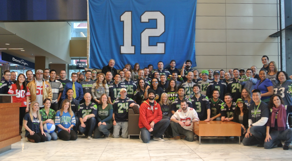 DocuSign team showing their hometown pride