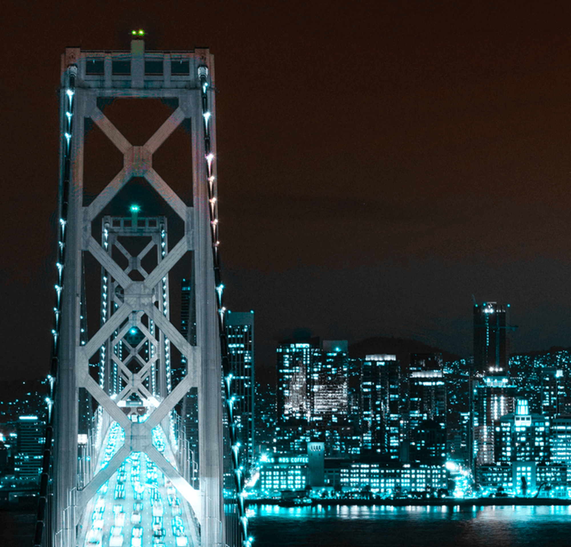 San Francisco's nighttime skyline, featuring the Salesforce Tower